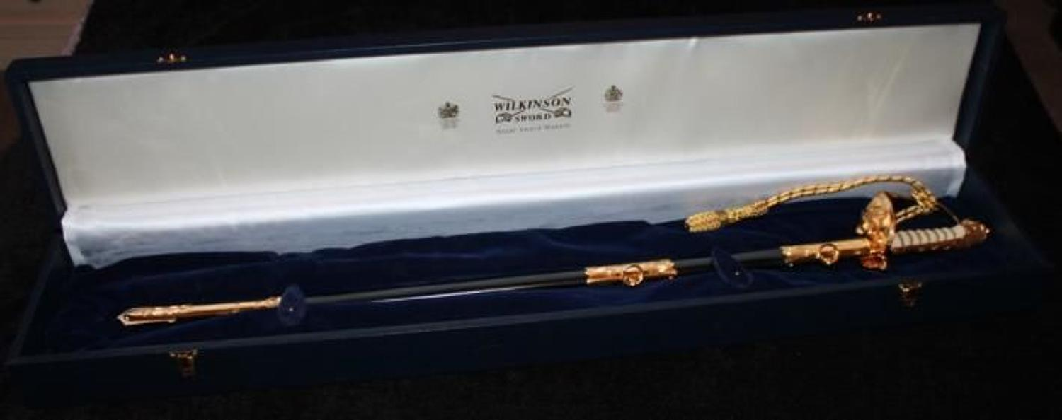 Cased Elizabeth II Royal Naval Officers Sword