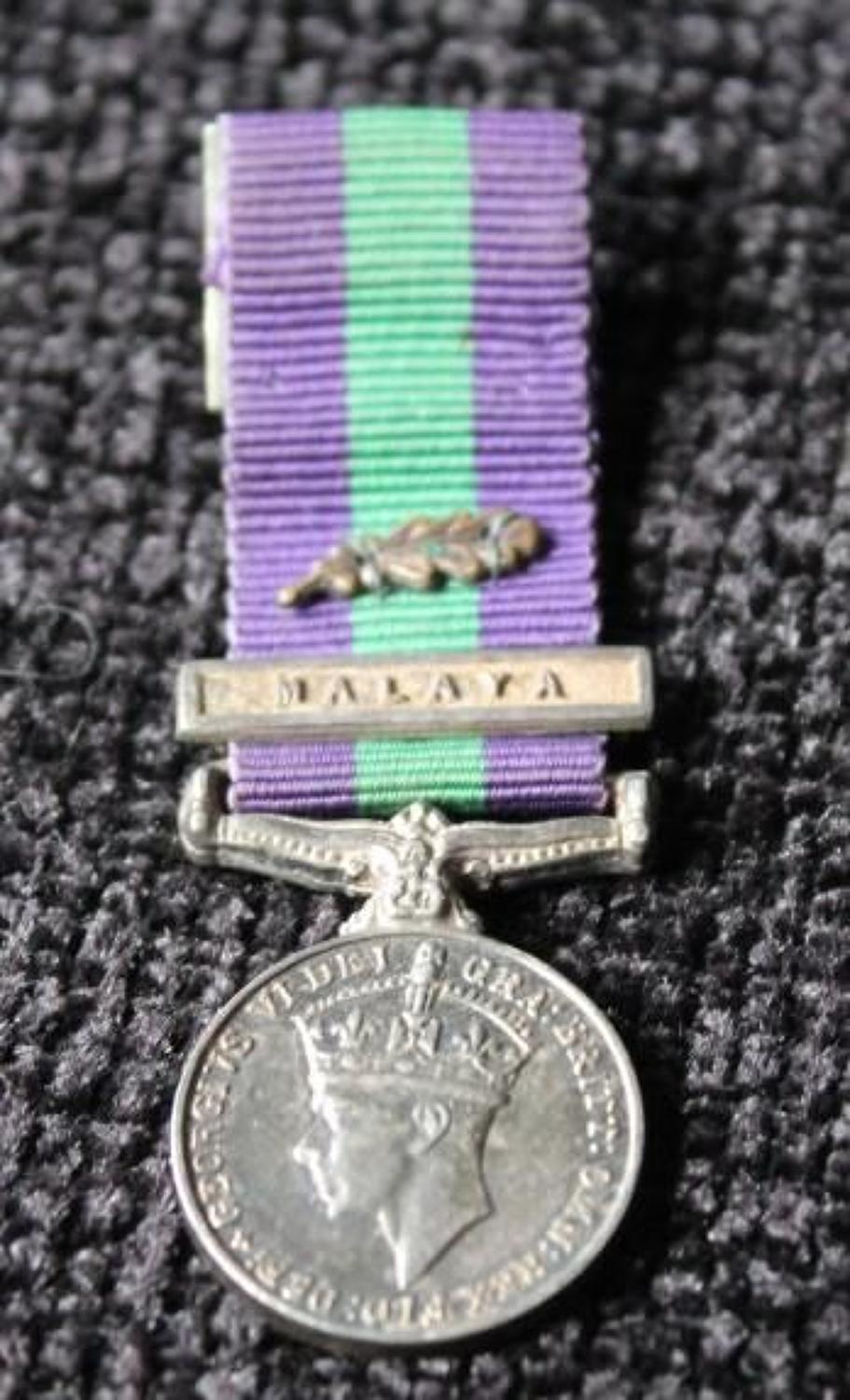 Miniature GVI General Service Medal Malaya With MID