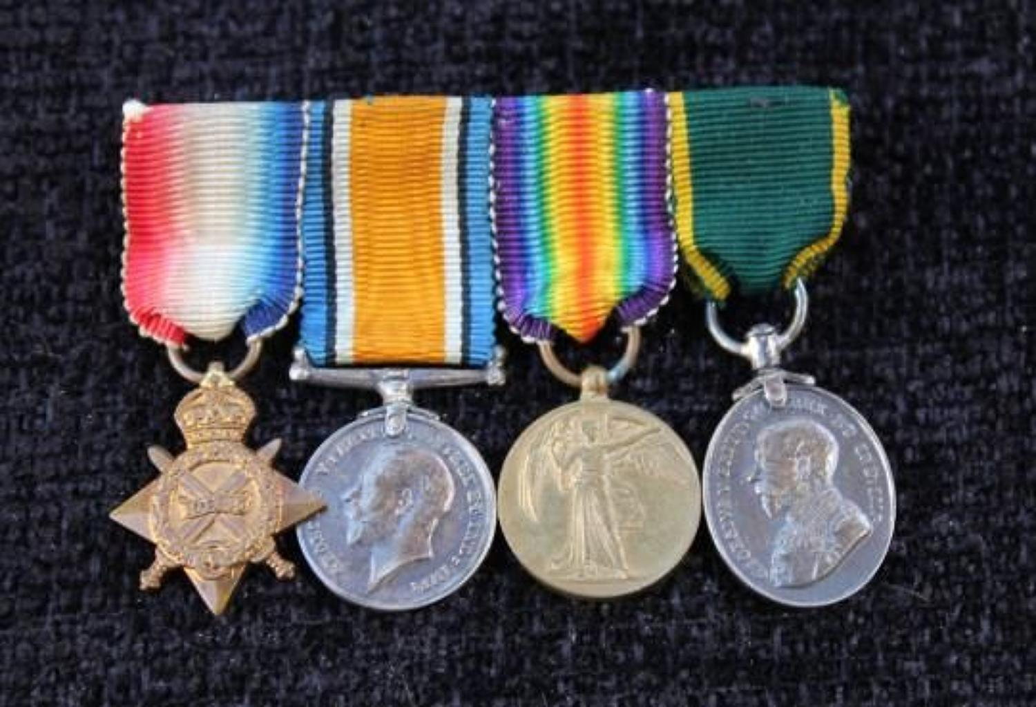 Miniature Group Of Four WW1 Medals