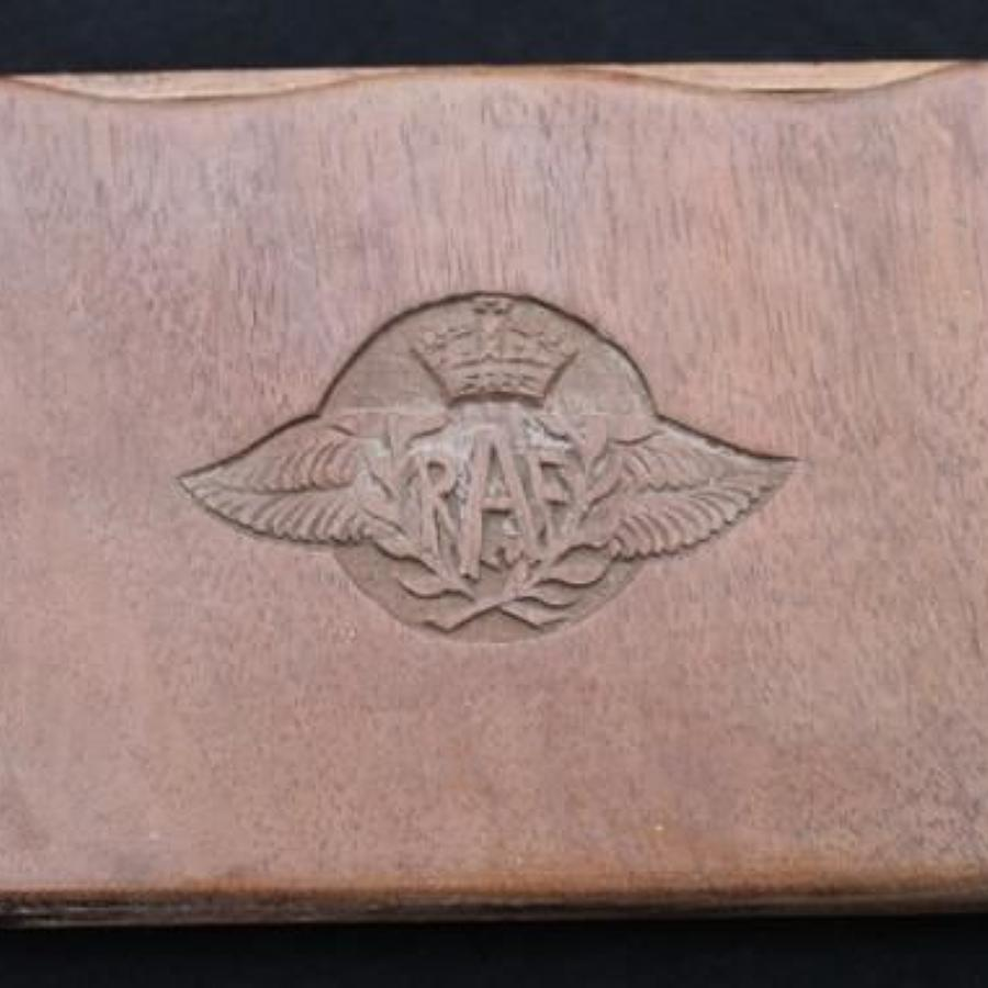 WW2 RAF Wooden Cigarette Case