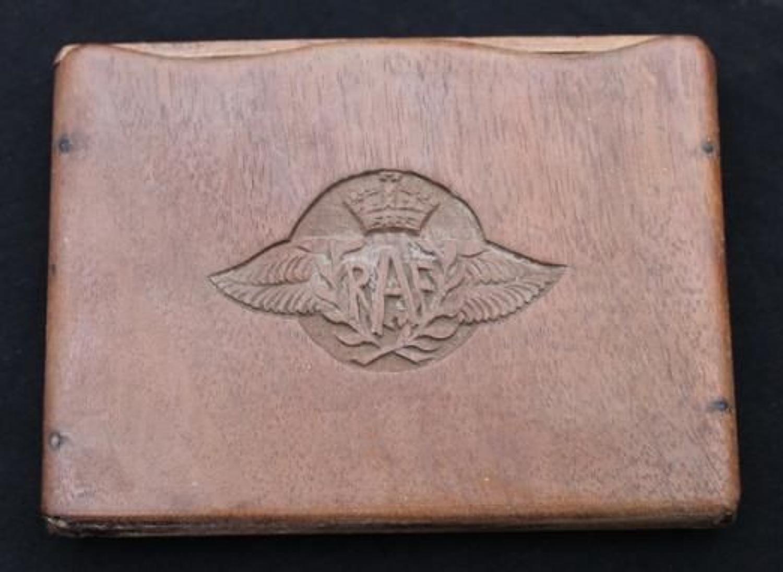 WW2 RAF Wooden Cigarette Case