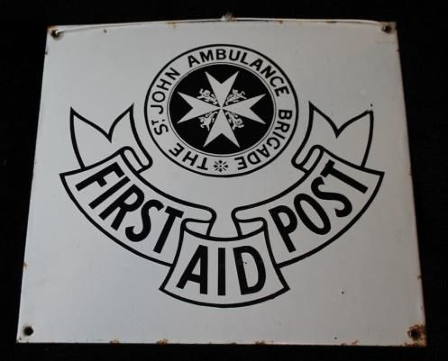 First Aid Post Enamel Sign
