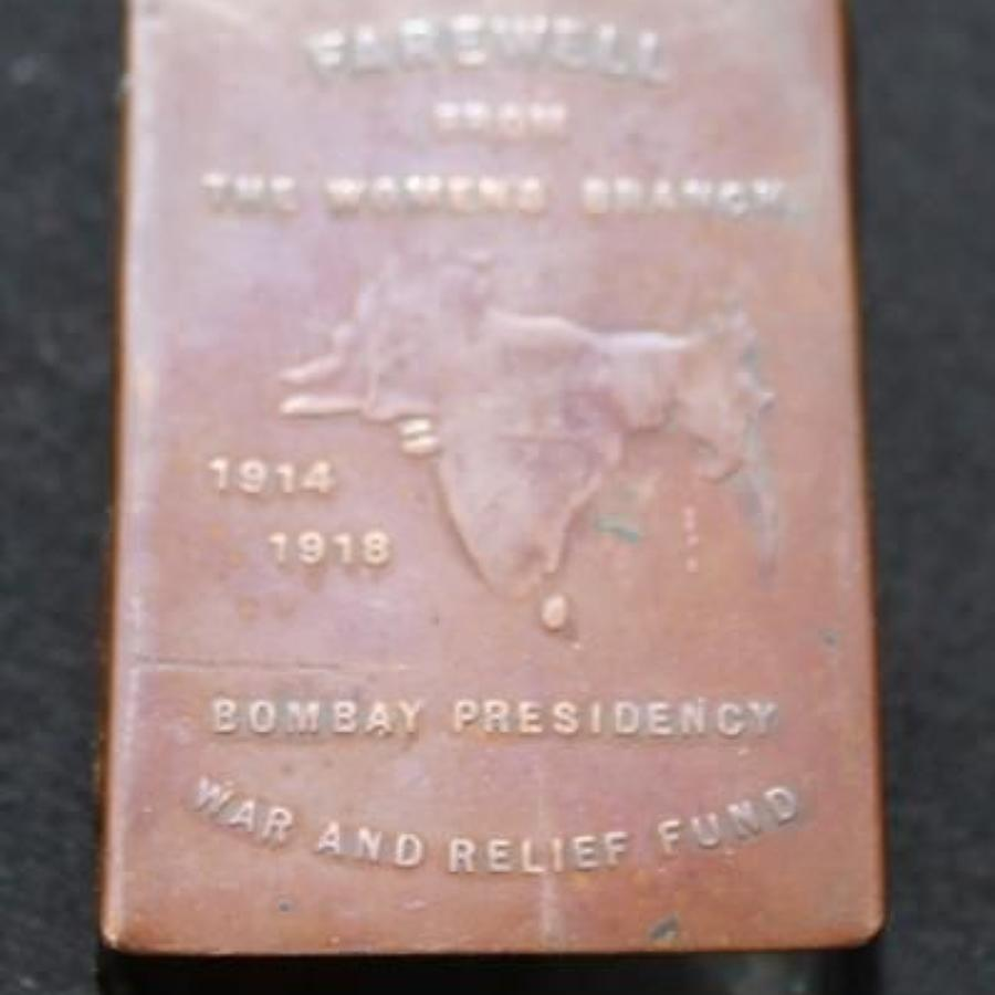 Bronze Match Cover Bombay Presidency War Relief Fund