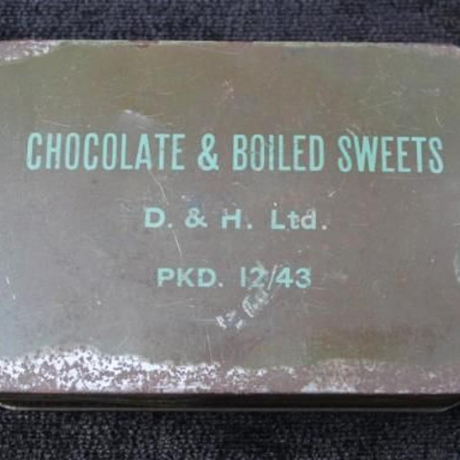 Chocolate And Boiled Sweets Ration Tin