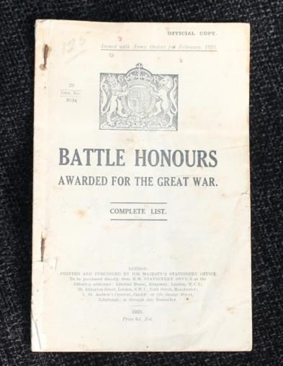 Booklet: Battle Honours Awarded For The Great War