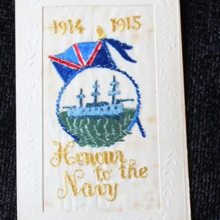 Honour To The Navy Silk Embroidered Postcard
