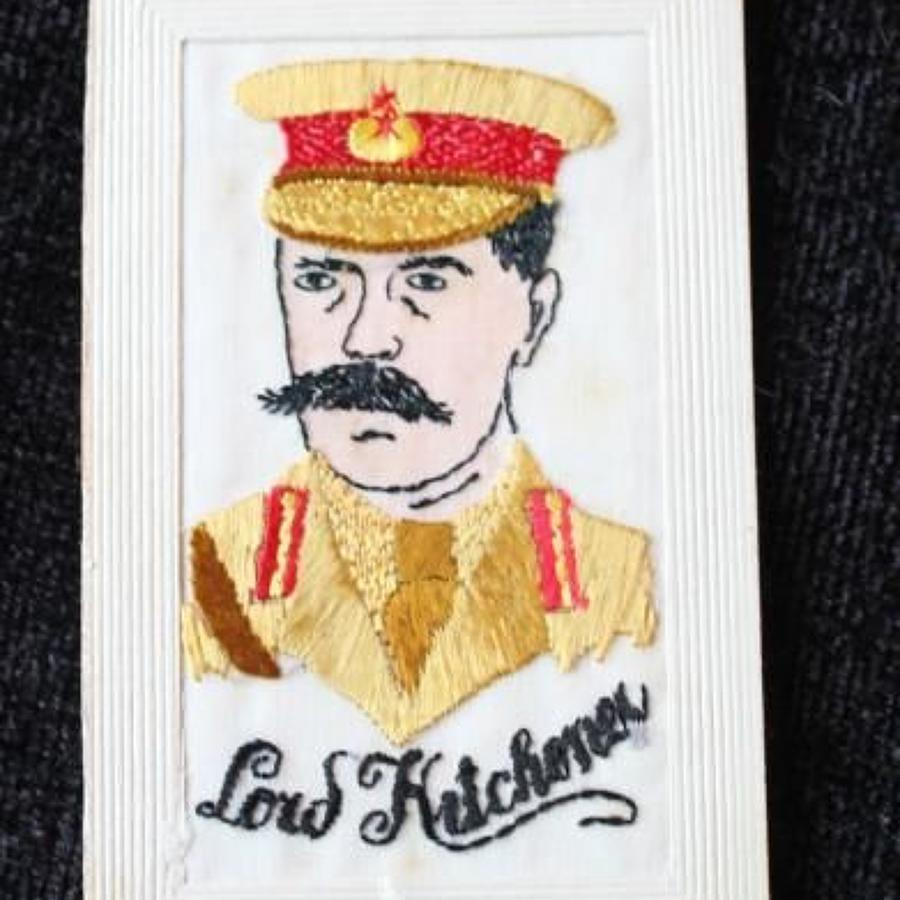 Lord Kitchener Silk Embroidered Postcard