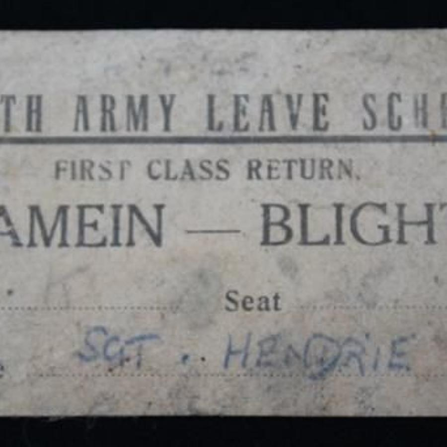 Eighth Army Leave Scheme Ticket