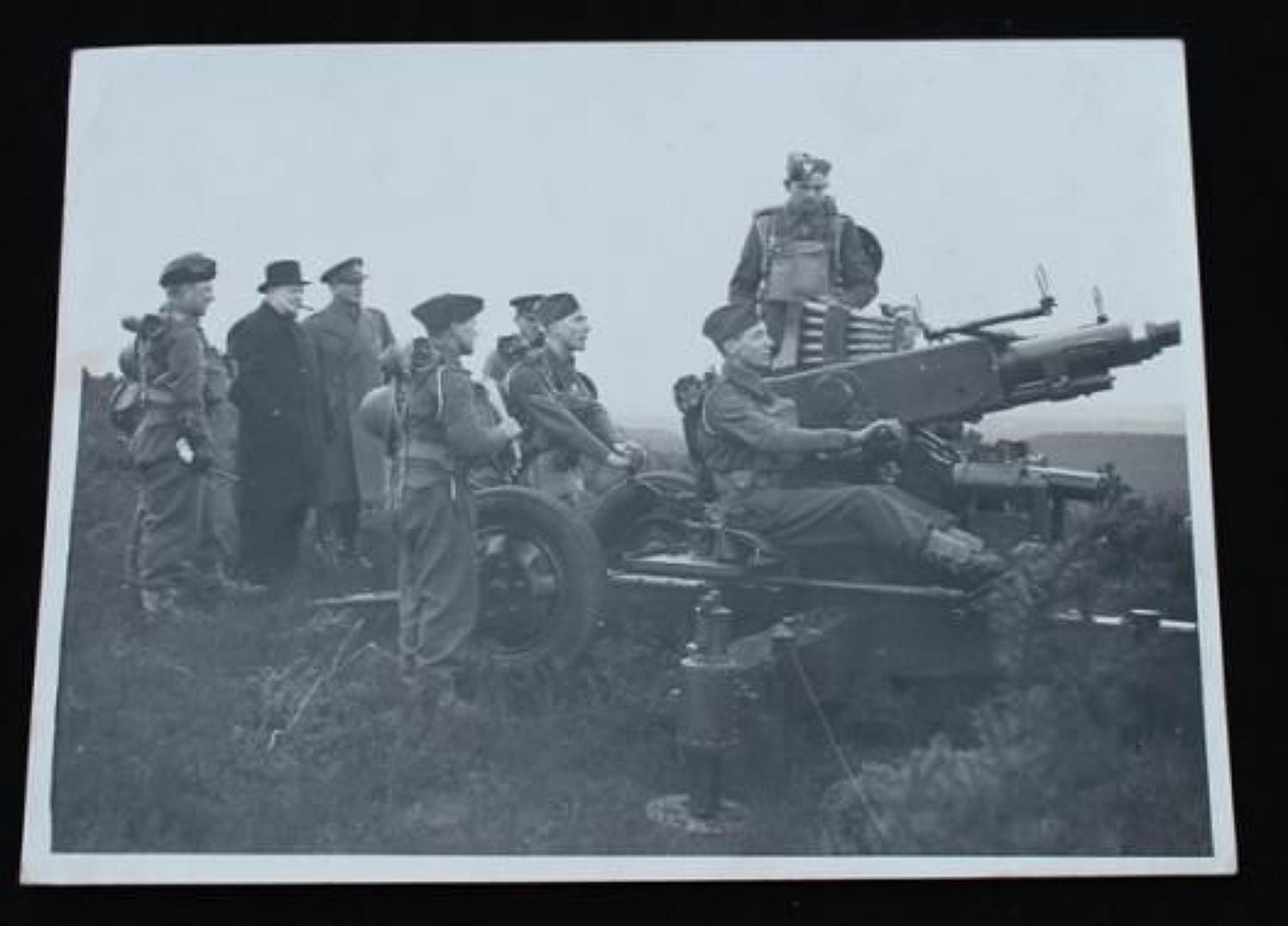 Official Photograph Churchill inspecting a Bofors Gun