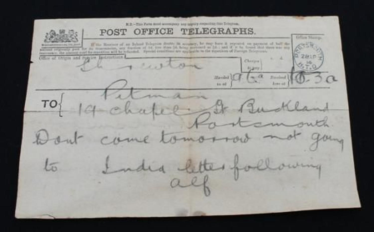 First World War Telegram