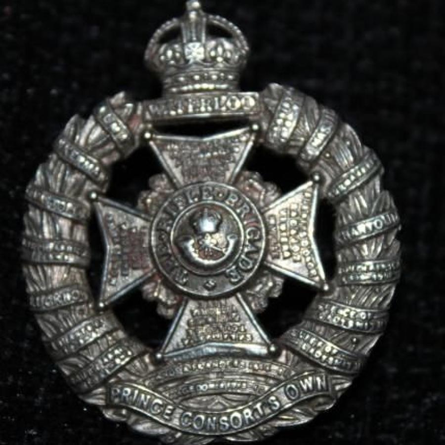 Solid Silver Rifle Brigade Cap Badge