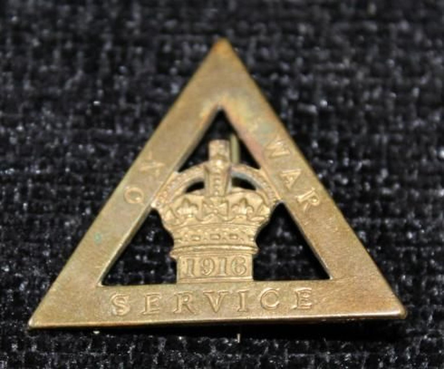 1916 Dated On War Service Badge