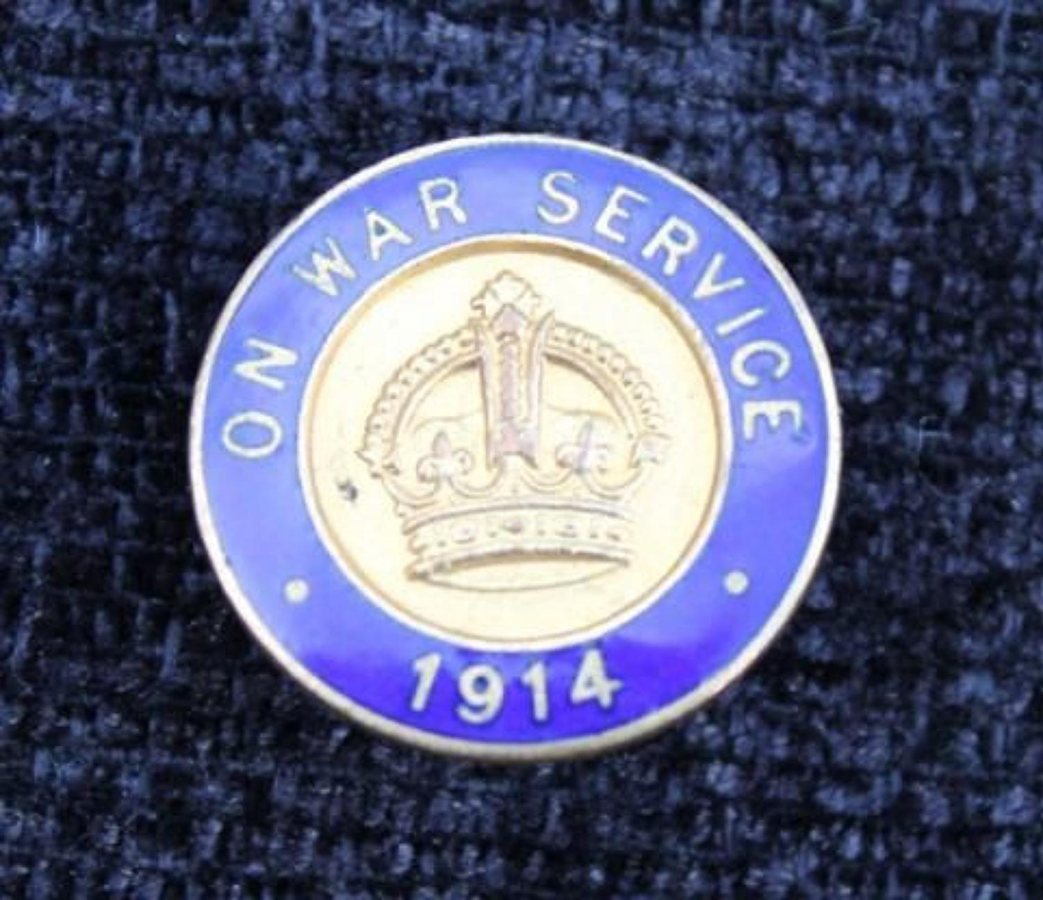 On War Service 1914 Lapel Badge