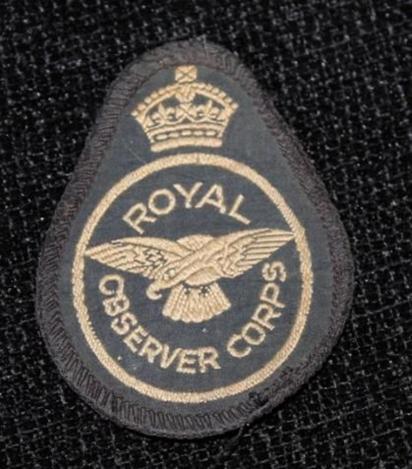 Royal Observer Corps Cloth Badge