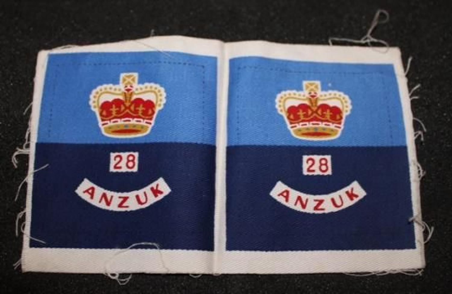Scarce Uncut Fomation Patches 28th ANZUK Infantry Brigade