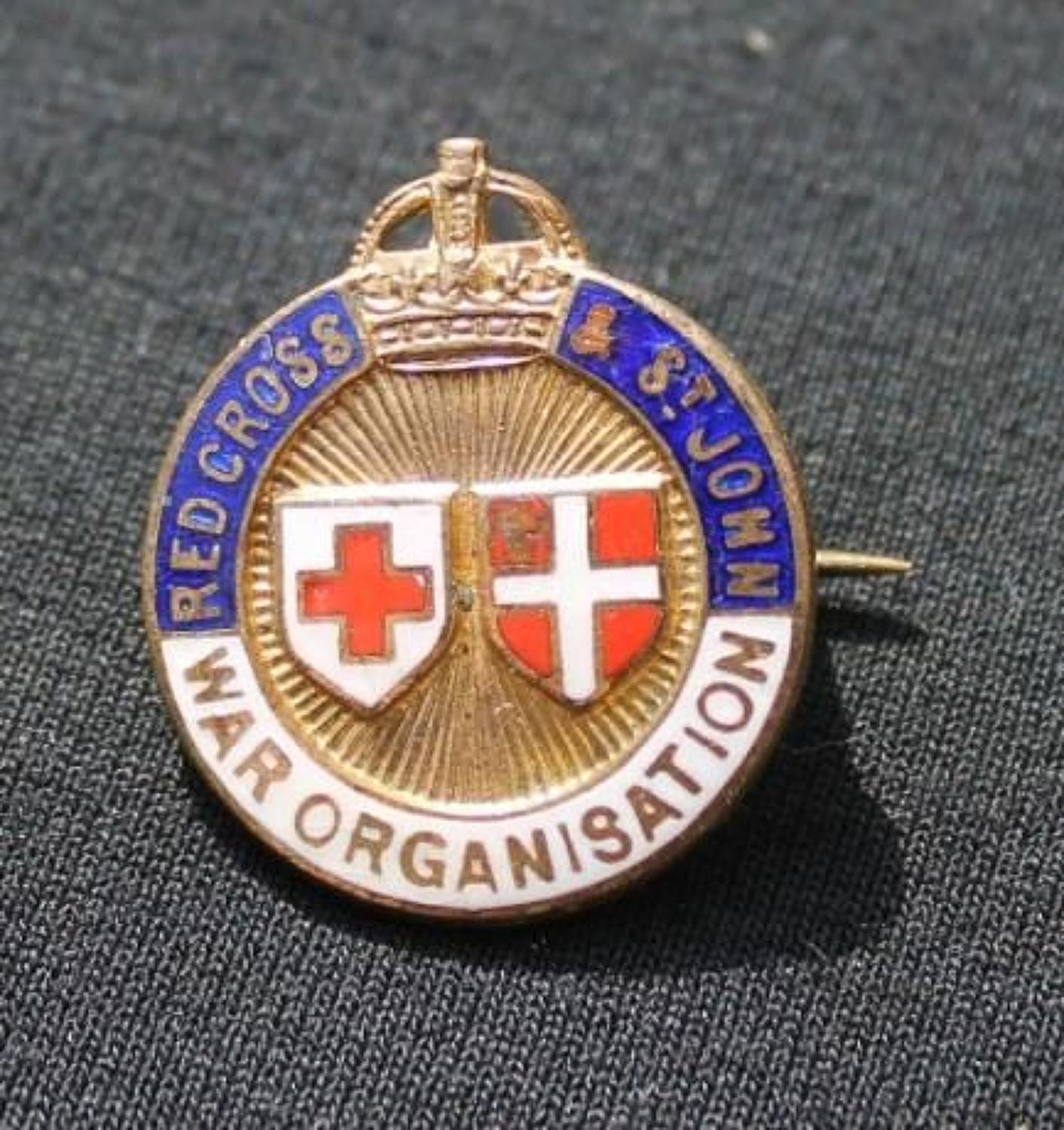 Red Cross and St John War Organisation Badge