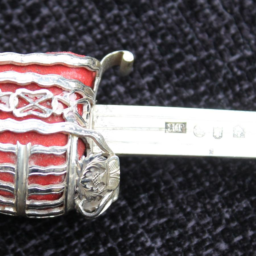 Victorian Silver Paperknife In The Form of A Scottish Broadsword