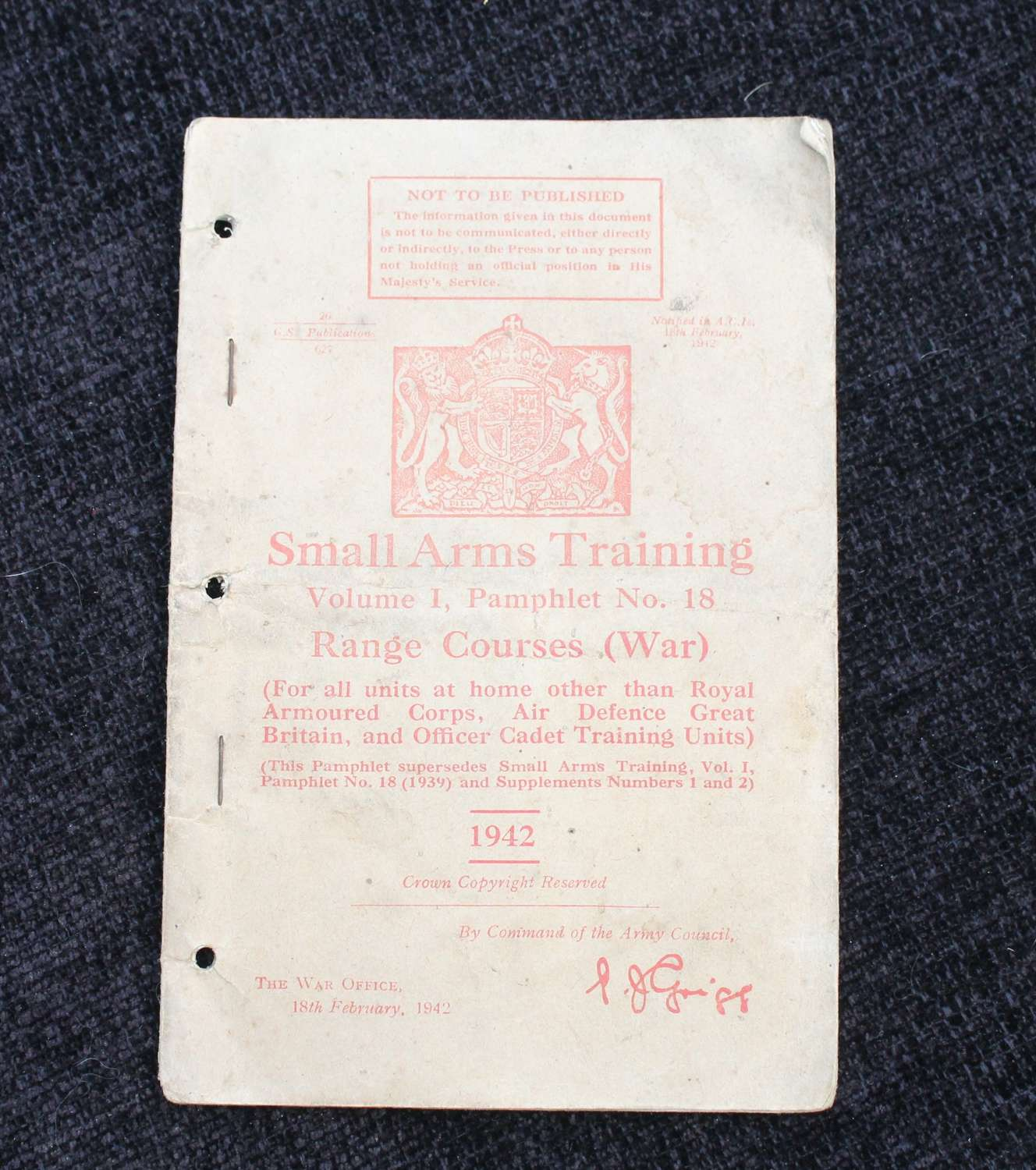 Small Arms Training Vol 1 Pamphlet 18 Range Courses 1942