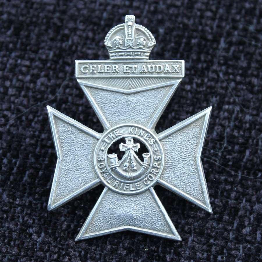 Kings Royal Rifle Corps Silver Cap Badge