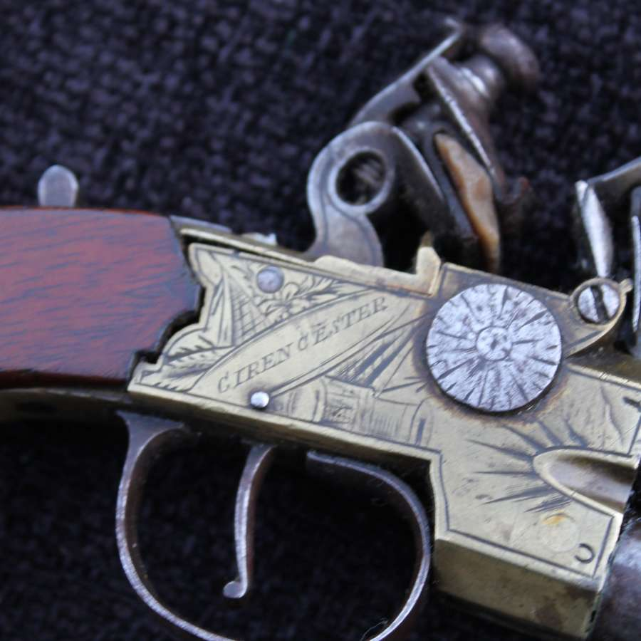 A Provincial Flintlock Double Barrelled Pocket Pistol