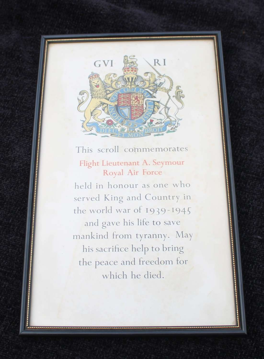 RAF Casualty Scroll Flight Lieutenant Seymour