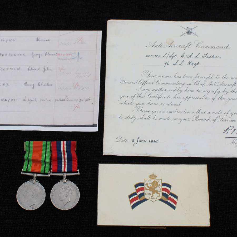 Anti-Aircraft Good Conduct Medal Group