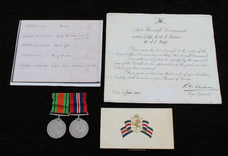 Anti-Aircraft Good Conduct Medal Group
