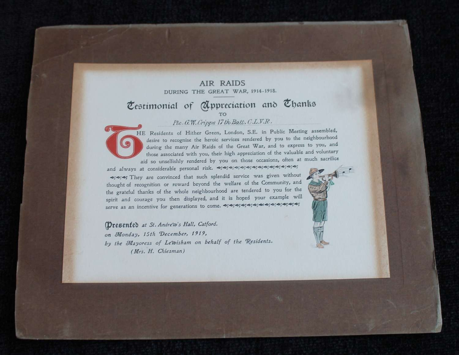 Rare Great War Air Raid Commendation Certificate